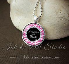 Hot Pink Zebra Print Mother of the Bride Necklace by inkdotstudio, $11.00