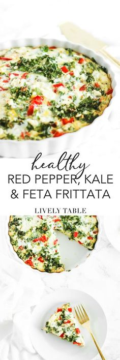 This red pepper, kale and feta frittata is a healthy, delicious brunch dish that also doubles as an easy make-ahead breakfast for the week. (#vegetarian, #glutenfree, #nutfree) #frittata #kale #eggs #healthy #breakfast #brunch #mealprep #easy