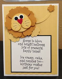 Lion Punch Art Stampin Up Birthday Card Kit 5 Cards | eBay