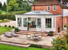 Garden room extension with french doors leading onto patio area