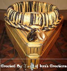 Black and Gold Crochet Thick Bangle with 2 by IonisCreations, $9.00