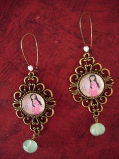 Life is a miracle art illustrated earrings with vintage by eltsamp, $25.00