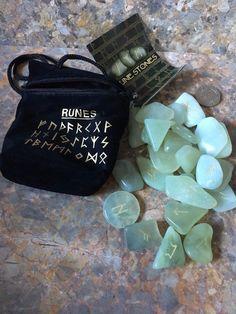 New Jade Crystal Gemstone Rune Stones, Runes, Divination, Oracle Fortune Telling