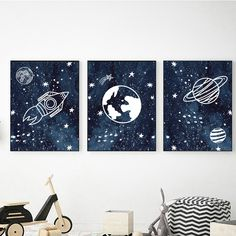 Watercolor Outer Space Prints for Nursery Decor Outer Space Crafts, Outer Space Theme, Space Themed Nursery, Nursery Themes, Space Theme Bedroom, Nursery Ideas, Nursery Decor, Nursery Boy, Outer Space Bedroom