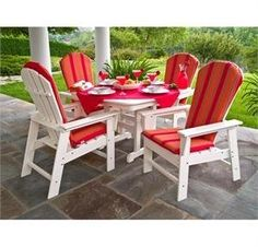 free nationwide shipping on all polywood furniture sets chairs and tables custom order with your choice of color and cushion options art deco outdoor furniture
