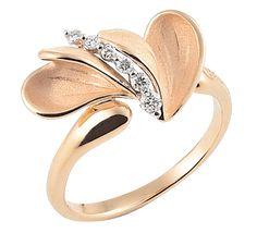 Золотое кольцо с бриллиантами восхитительной красоты. Ювелирное изделие подчеркнет вашу женственность и позволит вам легко покорять любые вершины. Этот нежный золотой лепесток может стать вашим красивым талисманом.