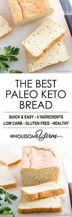 Easy Paleo Keto Bread Recipe - 5 Ingredients - If you want to know how to make the best #paleo #keto bread recipe, this is it! It's quick & easy to make with just 5 basic ingredients. #glutenfree #lowcarbrecipes