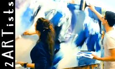 English 5-3-15 Large abstract acrylic painting demo - together one work - by zacher-finet