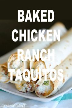 Baked Chicken Bacon Ranch Taquitos have quickly become a family favorite! Bake these in the oven for a crispy crunch in every bite, without the extra calories from frying. Seafood Recipes, Mexican Food Recipes, Chicken Recipes, Mexican Dishes, Mexican Cooking, Restaurant Recipes, Salmon Recipes, Crockpot Recipes, Vegetarian Recipes