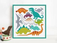 Dinosaurs Cross Stitch Pattern Digital Format PDF by Stitchrovia