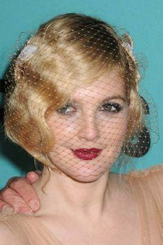 Drew Barrymore Finger Waves and Birdcage hat
