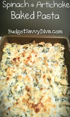 Spinach and Artichoke Baked Pasta. Wonder if M would eat this - sounds yummy! I Love Food, Good Food, Yummy Food, Great Recipes, Dinner Recipes, Favorite Recipes, Delicious Recipes, Dinner Ideas, Easy Recipes