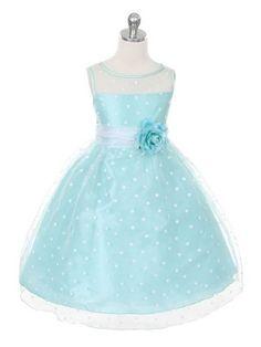 Mint/White Lovely Polka Dots Flower Girl Dress (size:Infants to 12 in 5 colors) - Flower Girl Dresses - GIRLS