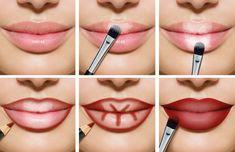 Volle Lippen schminken rot helle dunkle Bereiche #beauty #makeup
