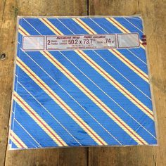 Metallic Blue Gold & Red Striped Gift Wrap Paper Flat 2 Sheets Sealed Rust Craft #RustCraft #Any