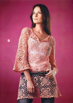 Crochetemoda: Crochet - Tunica Rosa The motifs and joining of them... not so much the style of the top...