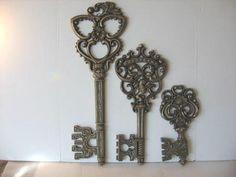 Homco 3 Vintage Gold Black Skeleton Keys Wall Decor Dart USA Home Interior   eBay