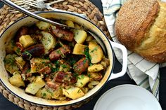 Dublin Coddle - Potatoes, bacon, and sausages make a great dish for St Patrick's Day!