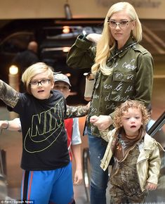 Day with the children: On Saturday, Blake Shelton, 39, joined girlfriend Gwen Stefani, 46,...