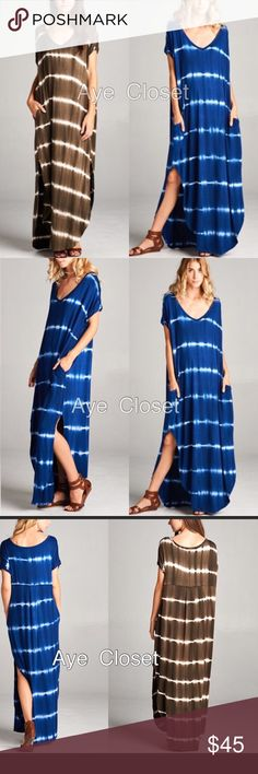 Maxi dress tie dyed ombré oversized fit sold New Super comfy. Oversized, loose fit  v-neck long maxi dress featuring a horizontal stripe tie dyed ombré  pattern and side slits and side pockets. high quality stretchy fabric.  🌀color: Royal blue / white tie dye🌀 Model is wearing size S🌀Measurements takes from size S🌀Length: 59🌀Chest: 23  ⭕️price firm unless bundled ⭕️ Boutique Dresses Maxi
