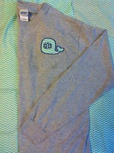 Whale Monogram Long Sleeve Shirt by PersonalizedPerfectn on Etsy