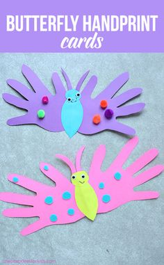 Butterfly Handprint Cards - these adorable cards fold over and you can write a message on the inside. These are perfect for Mother's Day or Father's Day cards. Handprint crafts } Butterfly crafts | Handprint card | Butterfly art via @bestideaskids