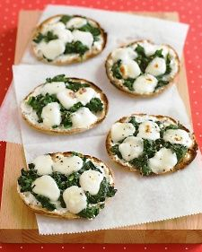 Bocconcini are just bite-size morsels of fresh mozzarella. Look for them at specialty food stores and Italian markets, as well as many supermarkets; they're usually packaged in water or whey for freshness.   Choose part-skim ricotta instead of regular; it has comparable creaminess, with fewer calories and less fat. Whole-wheat pitas are fiber-rich -- and tasty.