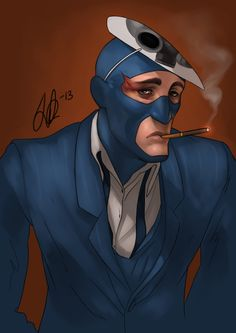 Not the finest moment by vilssonify.deviantart.com - BLU Spy after a rough day