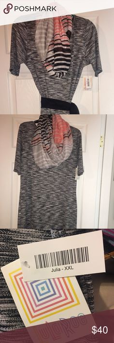 LuLuRoe Julia style Women's Dress LuLuRoe Julia Style Woman's Dress.  Very soft and comfortable!! Mixed gray, black and white color.  Great for Fall & Winter to wear with leggings, boots and scarves.  Measures 21 inches across the chest & 43 inches in length.  96% Polyester 4% Spandex LuLaRoe Dresses Midi