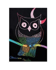 SCARTCH ART OWLS- GRADE 8 by heidabjorg, via Flickr
