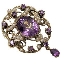 ONLY 5 DAYS LEFT TO BUY THIS ITEM AT 35% OFF! 14k Victorian Amethyst & Seed Pearl Pin/Pendant
