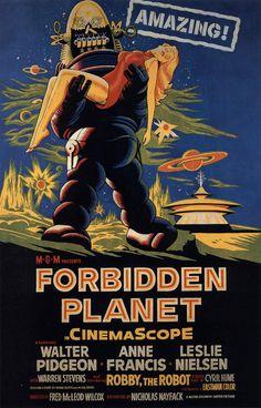 Planeta prohibido película cartel 50 raro Horror