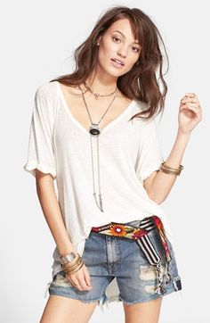 Free People 'Free Falling' Shirttail V-Neck Tee available at #Nordstrom
