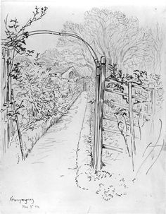 Beatrix Potter, Sketch of a trellis in the garden at Gwaynynog | V&A