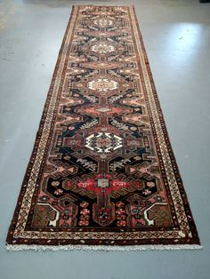 Persian Rug - 1970s Hand-Knotted Hamadan Runner (3571) by carpetshopprincess on Etsy