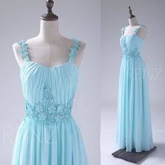 2016 Light Blue Bridesmaid dress, Flower Spaghetti Straps Wedding dress, Long Lace Evening dress, Chiffon Formal dress floor length (S042)