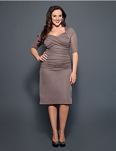 Get the same great retro flair as our best-selling Betsey Ruched Dress with our Roxie Ruched Dress. This dress features flattering ruching all along the mid-section to hide tummy troubles and to create fabulous curves. A crisscross bust with a beautiful drape creates a fantastic ruched neckline for great added coverage and the slight pencil skirt flows away from the body for a comfortable fit. lanebryant.com