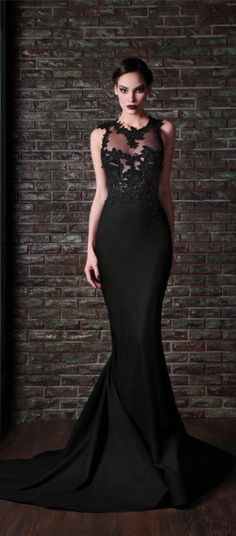 Sexy black prom dress long, lace prom dress