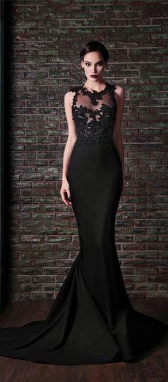 Sexy black prom dress long, lace prom dress