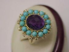 Magnificence Large Genuine Amethyst Turquoise Diamonds 10kt Yellow Gold Ring