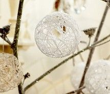 homemade ornaments. balloon, with yarn, use modpodge, let it set, pop balloon