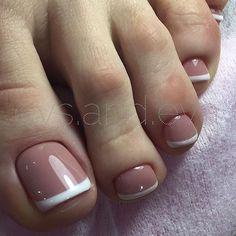 17 Ideas french pedicure designs toenails pretty toes for 2019 Pretty Toe Nails, Cute Toe Nails, My Nails, Pretty Toes, French Toe Nails, French Manicure Toes, French Toes, French Tip Pedicure, Toe Nail Art