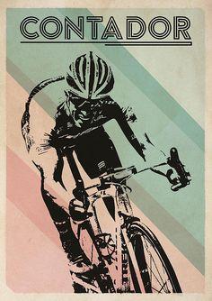 Alberto Contador Retro Fietsen Art Poster Bike Illustration, Bike Poster, Bicycle Art, Cycling Art, Cool Posters, Banksy, Cool Bikes, Retro, Just In Case