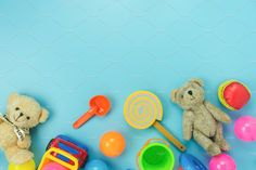 Table top view decoration kid toys for develop background concept.Flat lay accessories baby to play with items child on modern bule paper at office desk. Simple Background Design, Kids Background, Table Top View, Simple Backgrounds, Baby Accessories, Kids Toys, Concept, Wallpaper, Creative