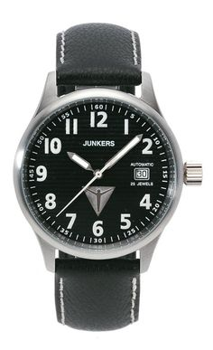 Reference: Junkers 6256-2S Corrugated,Movement: ETA 2824-2 self winding,Diameter: 40mm,Water resistance: 50m,Case: Stainless steel, Back case: Sapphire crystal see through,Glass: Sapphire crystal,Dial: Black dial,Strap: Leather strap. Available at www.chronowatchcompany.com