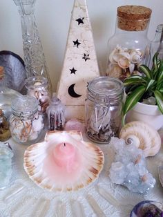 """floralwaterwitch: """"I truly love when the colour drains from the ingredients ~ it's like you can visually see the power being released into the universe 🌸🌾🙏🏼🐚✨ """" Crystal Altar, Crystal Decor, Witch Cottage, Witch House, Aesthetic Room Decor, Witch Aesthetic, Magick, Witchcraft, Tarot"""
