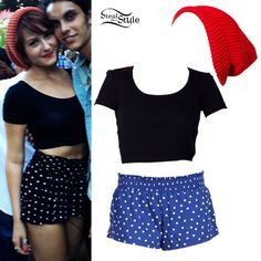 Scout Taylor-Compton is wearing a black cropped t-shirt with high-waisted polka dot shorts. She loves wearing beanies all year round, and here she's got on a slouchy red one. Get a similar look with clothing from American Apparel, Alternative Apparel, ASOS, and more: