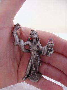 "Pewter lady with snake and crystal figurine b y Hunton USA $8.50 2 3/4"" 1990 5320 Hunton USA LNPicca"