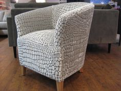 Handcrafted classic tub chair measures 65 cm x 65 cm. Covered in Designers Guild Nabucco pearl Bespoke Sofas, Cushion Filling, Designers Guild, Tub Chair, Sofa Bed, Cribs, Accent Chairs, British, Cushions