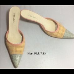 "Pre-Loved Prada Multi-Color Straw Kitten Heel 37.5 Pre-Loved Prada Multi-Color Straw Kitten Heel 37.5 Made in Italy unusual mules that are mint green crock embossed leather, straw and pink leather. Leather insole and sole. I think these are best for an American size 7 but a slide is a bit more forgiving than a closed shoe.  2"" heel, 11"" long and 3"" wide at ball of foot. In good pre-worn condition. Please let me know if you need more photos. Prada Shoes"